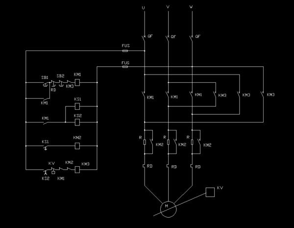 题目: 三相异步电动机定子串电阻减压启动反接制动 能给个电路图么?最好还有个导通的逻辑关系 解答: 图是专为这个功能设计的,因非专业,图中标号使用不一定准确.图中:KS1、KS2为时间继电器,其中KS1时间设置为启动时间,KS2设置为最大制动时间;KV为测速继电器并联于电机主轴,RD为热继电器.
