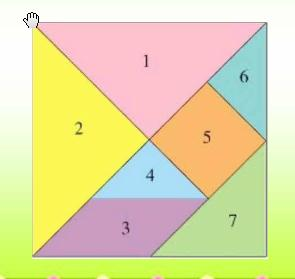 下面是有七巧板组成的,每个图形的面积占正方形的几分图片