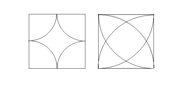 李用圆规和三角板,你能画出下面这些美丽的图案吗?试试看图片