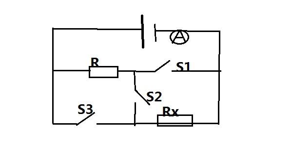 如图所示的电路,r=4欧,另一个电阻rx和电源电压u未知,当闭合开关s2,而