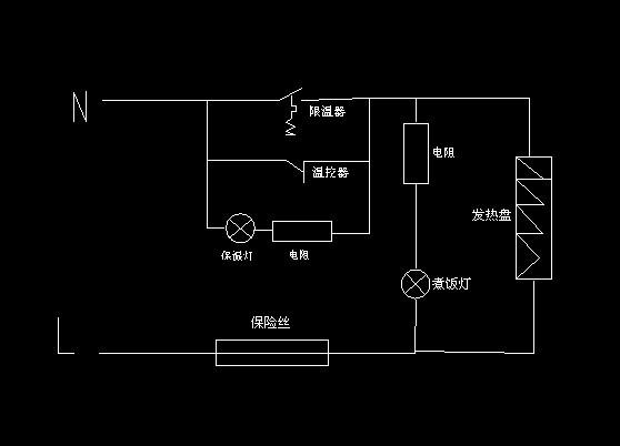 如图所示为普通电饭锅原理图,如果通上按照图上,煮饭灯和保温灯同时图片