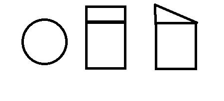 求一个被斜切了的圆柱的三视图怎么画?