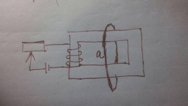 如图,假定线圈产生磁场全部集中在铁芯中(图中矩形),当滑动变阻器滑片