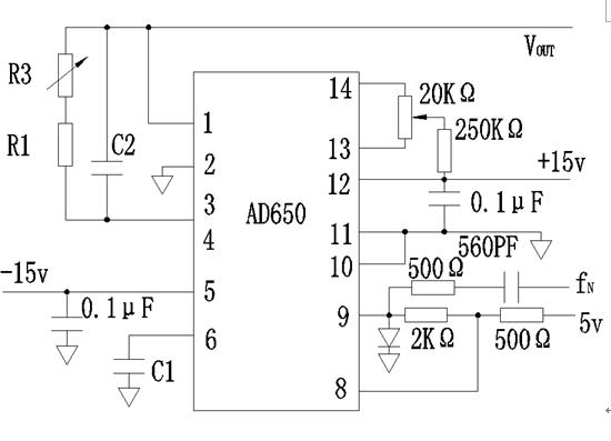 我要设计一个频率电压转换电路. 现在想用ad650来实现