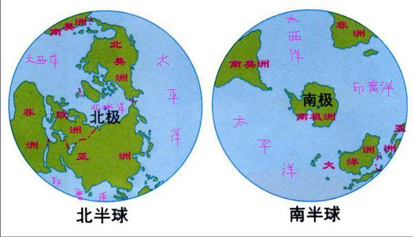 在南北半球海陆分布图上填注七大洲和四大洋的名称,要图哦,快一点,10