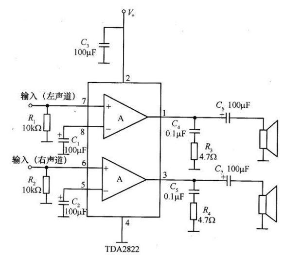 用tda2822做了个单声道功放,接5v usb电源供电,接4欧3