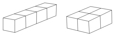 用4个棱长1厘米的小正方形拼成一个长方体,最大的长方体的表面积是图片