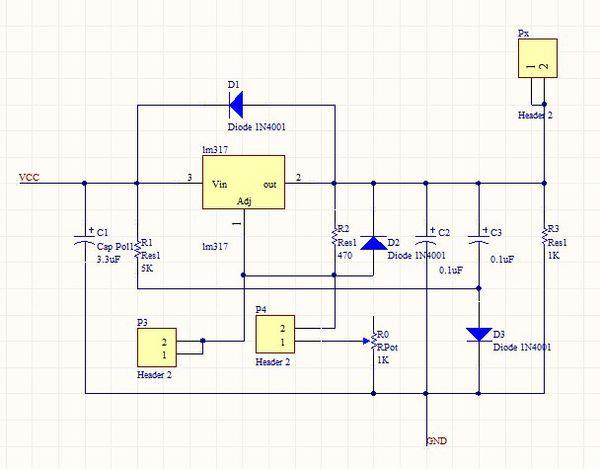 lm317t稳压电路输出问题.