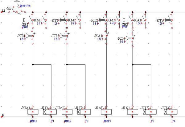 怎样用时间继电器控制三台电机,启动时m1先启动,m2过t1再启动,m3过t2