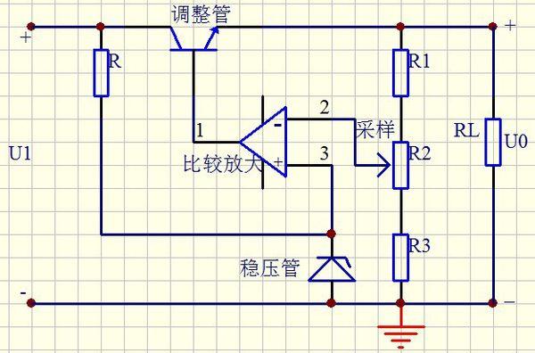 设计一个稳压电源.要求:(1)设计串联反馈式稳压电路