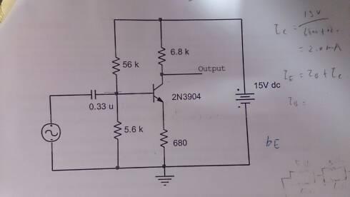 三级管共射极放大电路,求ebc电压电流,怎么算b极电流要过程
