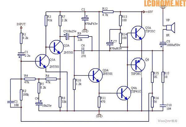 元件50w功率放大器电路图能否制造出实物和前级电路或者控制音量电路