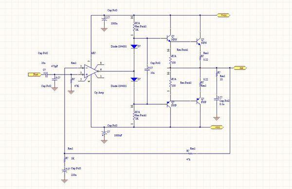 分立元件功放电路图