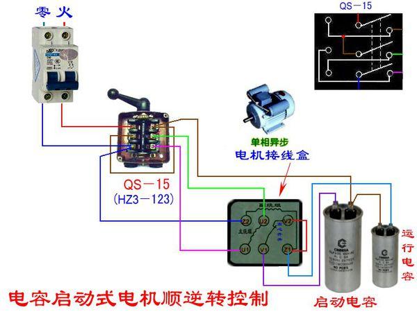 单项双值电容异步电机 6个接线柱 第一行 z2 u2 v2 第