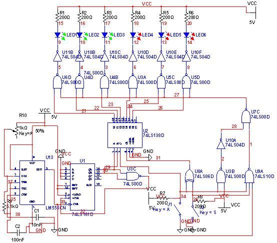 数字逻辑课程设计 汽车尾灯控制电路