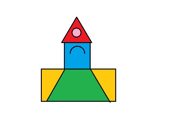 长方形,正方形,圆形,半圆,三角形,梯形,可以拼成什么图形