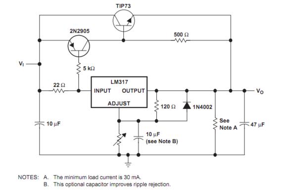 lm317官方扩流电路的原理?